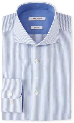 Isaac Mizrahi White & Blue Stripes Dress Shirt