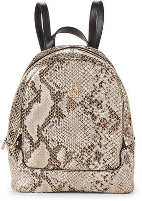Patrizia Pepe Silver Python-Embossed Leather Backpack