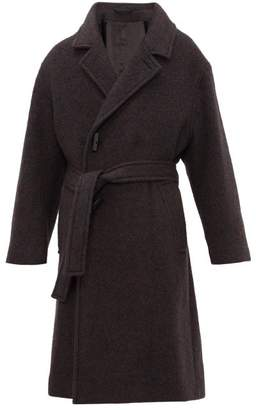 Lemaire Double Breasted Wool Blend Coat - Mens - Charcoal