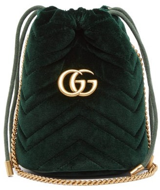 Gucci Gg Marmont Mini Quilted Velvet Cross Body Bag - Womens - Dark Green