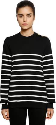 Balmain Striped Printed Jersey Sweatshirt