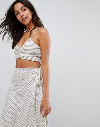 Asos DESIGN Minimal Stripe Jersey Tie Front Beach Crop Top Two-Piece