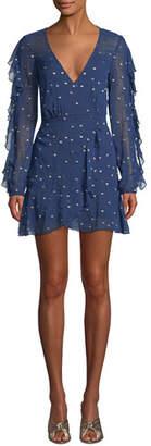 La Maison Talulah Dalliance Metallic-Dot Faux-Wrap Short Dress