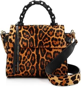 Elena Ghisellini Small Leopard Calf Hair Top Handle Satchel
