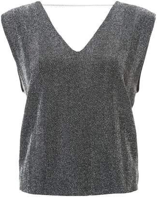Amiri v-neck herringbone blouse