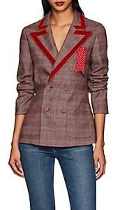 THE GIGI Women's Sandra Velvet-Trimmed Checked Double-Breasted Blazer - Pink