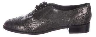 Stuart Weitzman Brogue Round-Toe Oxfords