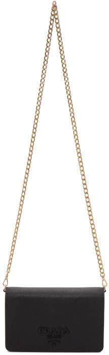 Prada Black Saffiano Logo Fold Over Shoulder Bag