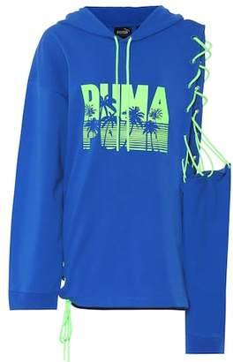 Rihanna Fenty by Printed cotton-blend hoodie