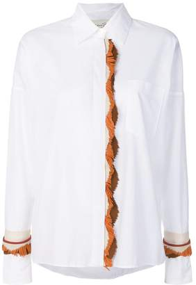 Antonia Zander fringed leather trim shirt