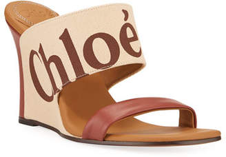 Chloé Verena Logo Wedge Slide Sandals