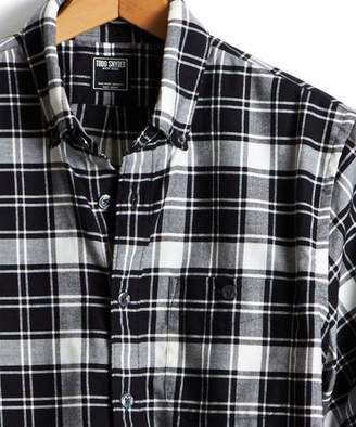 Todd Snyder Button Down Flannel Shirt in in Black and White Plaid