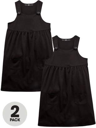 Very Girls Black 2 Pack Jersey Pinafore Dress