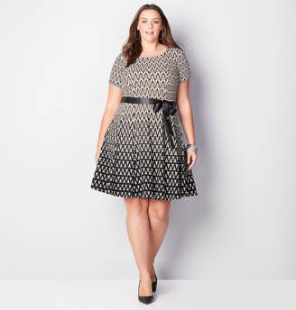 Avenue Ombre Geo Fit and Flare Dress