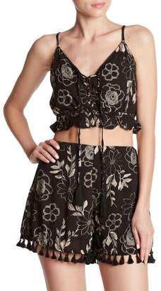 Dress Forum Lace-Up Spaghetti Strap Crop Top