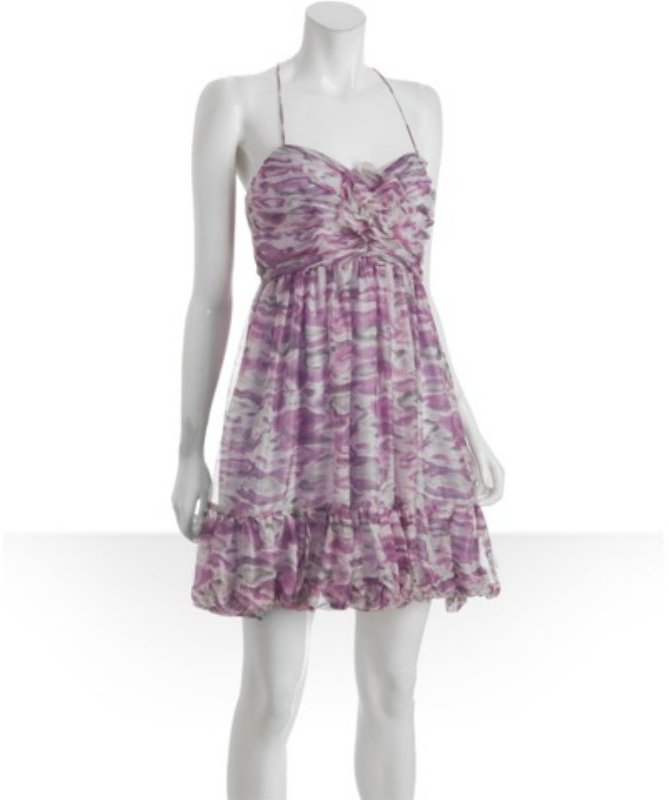 Laila fuchsia graphic crepe rosette ruffle dress
