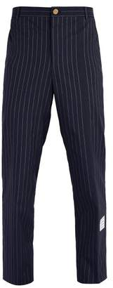 Thom Browne Chalk Stripe Cotton Chino Trousers - Mens - Navy