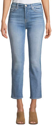 7 For All Mankind Edie High-Rise Ankle Straight-Leg Jeans, Vintage Azure