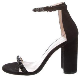 Stuart Weitzman Suede Ankle Strap Sandals