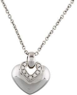 Bvlgari 18K Diamond Doppio Cuore Pendant Necklace