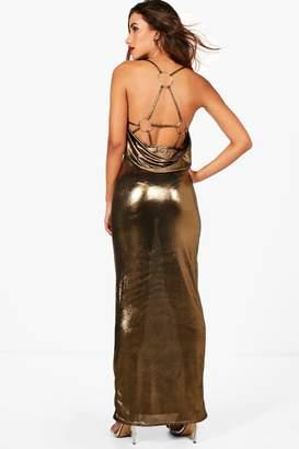 boohoo O Ring Back Detail Metallic Maxi Dress