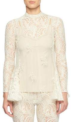 Stella McCartney Long-Sleeve Sheer Front Pearlescent-Bead Lace Blouse