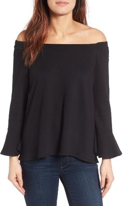 Women's Gibson Bell Sleeve Off The Shoulder Sweatshirt $59 thestylecure.com