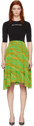 Balenciaga Black and Green Silk Athletic Top Dress
