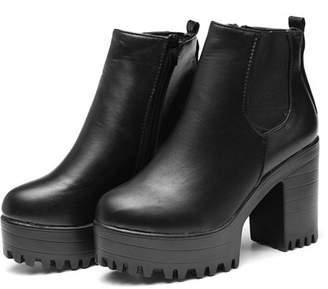 Meigar Winter Women's Chel-sea Chunky Shoes Ankle Boots Platform Block High Heels Zipper