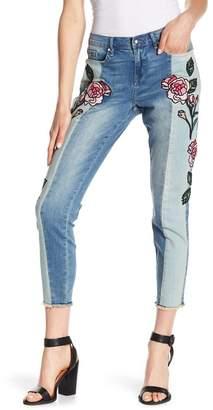 William Rast Embroidered Frayed Hem Skinny Jeans