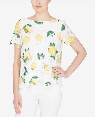 Catherine Catherine Malandrino Lemon-Print Lace Top $88 thestylecure.com