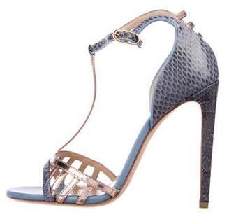 Chloé Gosselin Metallic Snakeskin-Trimmed Sandals