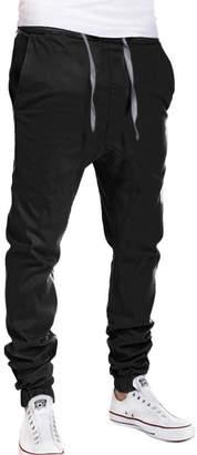 Fly London uxcell® Men Drawstring Elastic Waist Mock Harem Pants