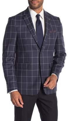 Original Penguin Plaid Wool Notch Collar Skinny Fit Jacket