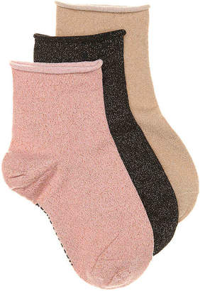 Steve Madden Roll Top Lurex Ankle Socks - 3 Pack - Women's