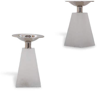 Port 68 Set of 2 Cairo Marble Candleholders - White/Silver