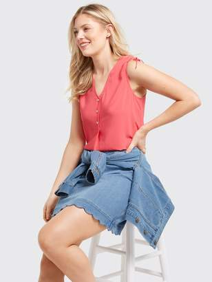 Draper James Sleeveless Tie Shoulder Blouse
