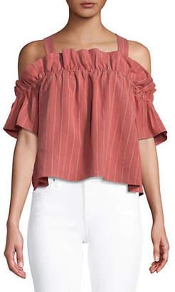 Saylor Myra Striped Cold-Shoulder Top