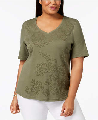 Karen Scott Plus Size Embellished Printed T-Shirt, Created for Macy's