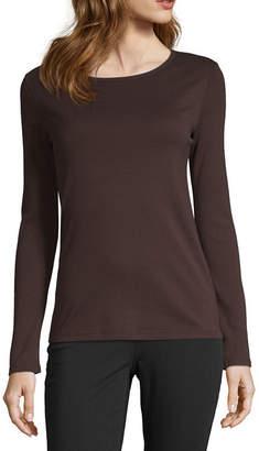 Liz Claiborne Fall 19-Womens Round Neck Long Sleeve T-Shirt