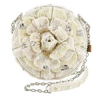 Mary Frances Petals of Pearls Beaded Rose Handbag