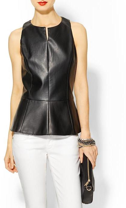 Tinley Road Vegan Leather Peplum Top