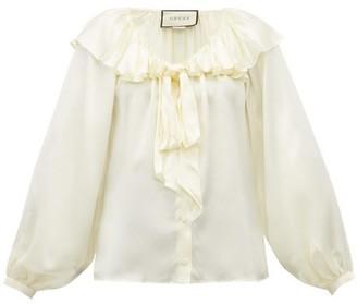Gucci Ruffled Silk Blend Satin Blouse - Womens - Ivory