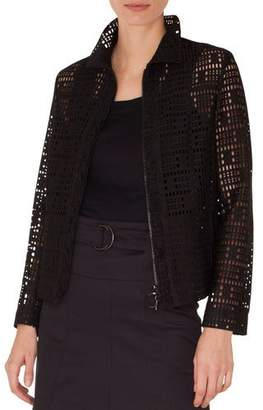 Akris Punto Zip-Front Collared Lace Jacket w/ Ruffled Detailing