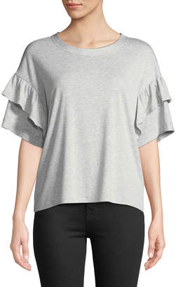 Laundry by Shelli Segal Ruffle-Tiered Sleeve Ribbed Tee