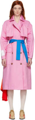 MSGM Pink Satin Insert Trench Coat
