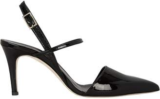 Tibi Eli Black Patent Leather Slingback Pumps