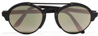 Illesteva - Milan Ii Round-frame Acetate And Metal Mirrored Sunglasses - Black $300 thestylecure.com