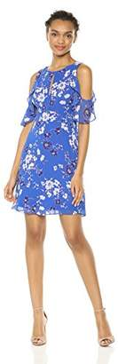 Kensie Dress Women's Cold Shoulder Floral Printed