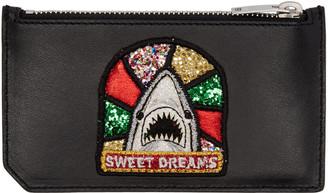 Saint Laurent Black Sweet Dreams Shark Fragments Card Holder $345 thestylecure.com